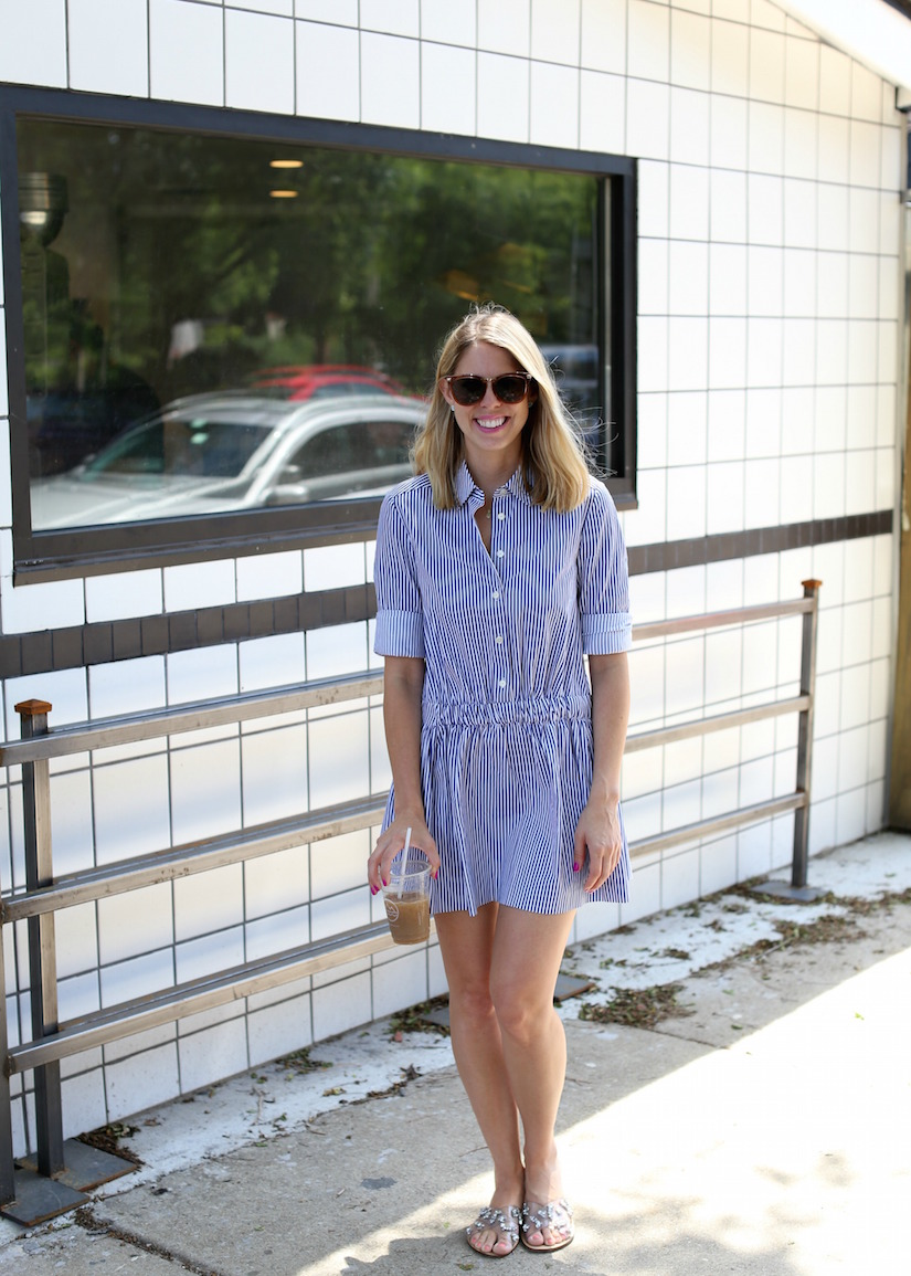 The Kissing Booth Blog - Blue and white stripe shirt dress
